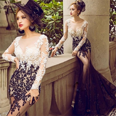 Long-Sleeve Lace Appliques Evening Dress UK | Mermaid Elegant Prom Party Dress UK_3