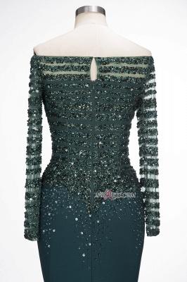 off-the-Shoulder Dark-Green Long-Sleeves Sequins Mermaid Evening Dress UK_3