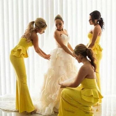 Peplum Ruffles Mermaid Bright-Yellow Long Bridesmaid Dress UKes UK_3