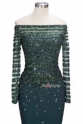 off-the-Shoulder Dark-Green Long-Sleeves Sequins Mermaid Evening Dress UK_4