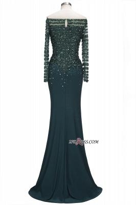 off-the-Shoulder Dark-Green Long-Sleeves Sequins Mermaid Evening Dress UK_5