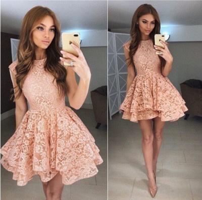 Luxury Sleeveless Lace Short Homecoming Dress UK On Sale_3