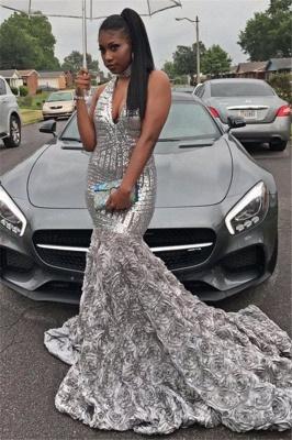 Elegant V-Neck Sequins Prom Dress UK | Evening Party Dress UK With Flowers Bottom BK0_1