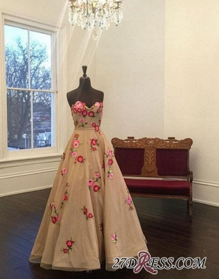 Applique Sweetheart A-line Champagne Flowers Evening Dress UK_1