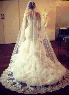 Amazing Long Sleeve Lace Wedding Dress Sexy Mermaid Organza_1