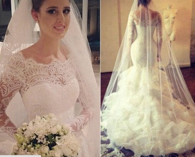 Amazing Long Sleeve Lace Wedding Dress Sexy Mermaid Organza_3