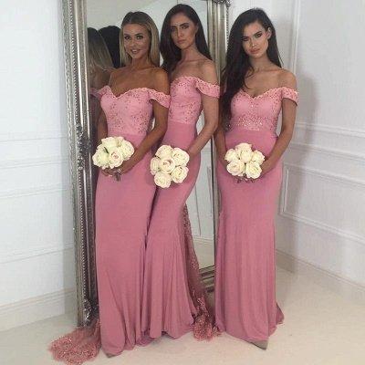 Off-the-Shoulder Pink Bridesmaid Dress UK | 2019 Mermaid Long Lace Bridesmaid Dress UKes UK_5