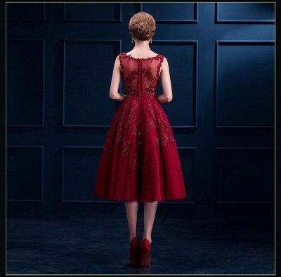 Gorgeous Burgundy Sleeveless Short Prom Dress UK Tulle Appliques Online_4