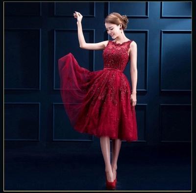 Gorgeous Burgundy Sleeveless Short Prom Dress UK Tulle Appliques Online_5