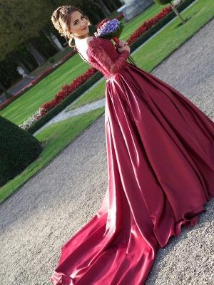 Gorgeous Off-the-Shoulder Long Sleeve Lace Appliques Evening Party Dress UK_4