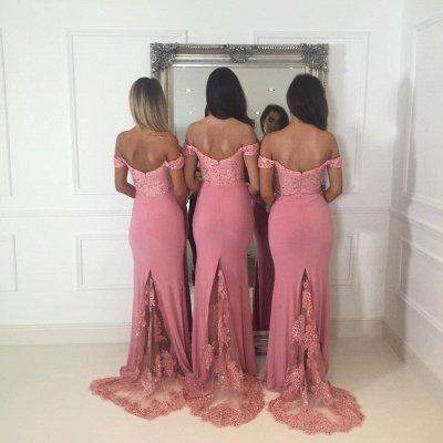 Off-the-Shoulder Pink Bridesmaid Dress UK | 2019 Mermaid Long Lace Bridesmaid Dress UKes UK_3