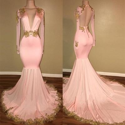 Luxury Long Sleeve V-Neck Prom Dress UK Mermaid With Gold Crystal_3