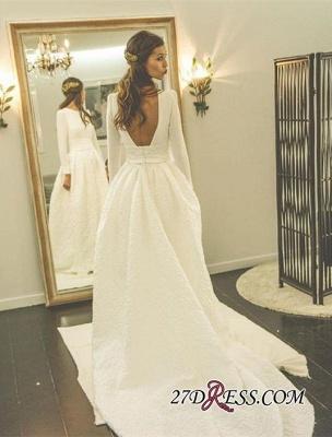 Newest Long-Sleeve A-line Sweep-Train Jewel Wedding Dress_1