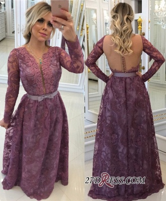 Gorgeous Long-Sleeves Lace Buttons A-Line Evening Dress UKes UK_2