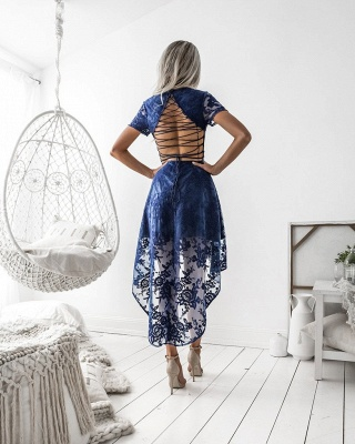 Sexy Short Sleeve Lace Homecoming Dress UK Hi-Lo Party Gowns_3