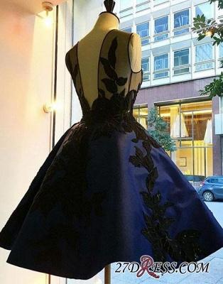 Knee-length Lace Applique Dark-blue A-line Evening Dress UK BA4289_1