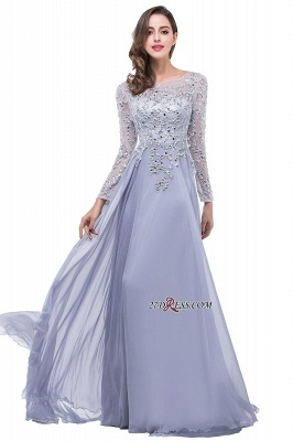 Appliques Long-Sleeves Newest Beadings A-Line Prom Dress UK_2