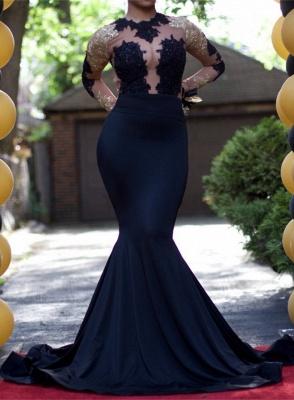 Elegant Black Long Sleeve Evening Dress UK Lace Mermaid BA4868_1