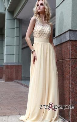 Zipper Beads Sleeveless Chiffon Newest A-line Jewel Prom Dress UK_3
