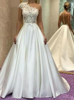Gorgeous One Shoulder Wedding Dress   Lace Princess Bridal Gowns_3