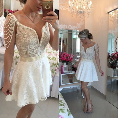 Gorgeous Short Lace Pearls Cocktail Dress UK V-neck Open Back BT0_1