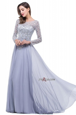 Appliques Long-Sleeves Newest Beadings A-Line Prom Dress UK_1