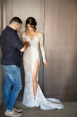 Sexy Mermaid Lace Appliques Wedding Dress Front Split Sweep Train_1