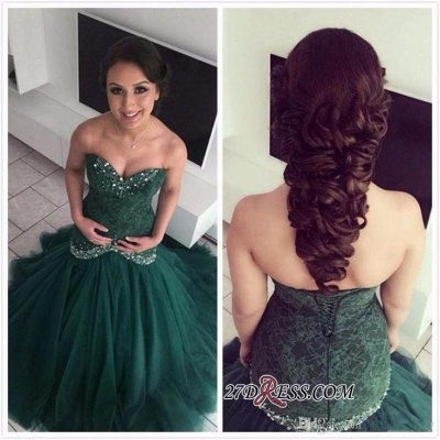 Dark-Green Sweetheart Gorgeous Mermaid Lace Evening Dres_1