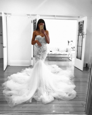 Romantic Sweetheart Lace White Sheer Wedding Dress |  Sexy Mermaid Bridal Gown_4