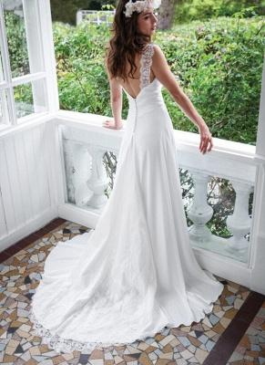 Elegant White Lace Straps Wedding Dress Zipper Button Back_3