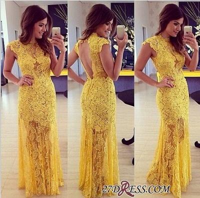Modern Long Yellow Sleeveless High-Neck Lace A-line Prom Dress UK BA9014_1