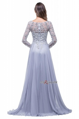 Appliques Long-Sleeves Newest Beadings A-Line Prom Dress UK_4