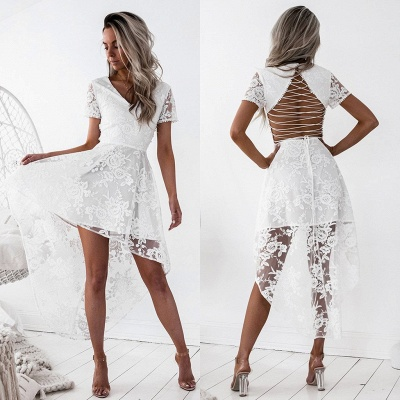 Sexy Short Sleeve Lace Homecoming Dress UK Hi-Lo Party Gowns_5