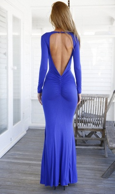 Modern V-neck Long Sleeve Mermaid Prom Dress UK Open Back_4