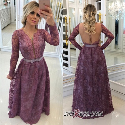 Gorgeous Long-Sleeves Lace Buttons A-Line Evening Dress UKes UK_1