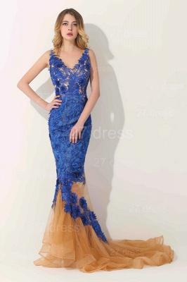 Gorgeous Elegant V-Neck Appliques Mermaid Evening Dress UK On Sale_1