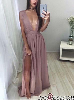 Floor-Length Deep V-neck Elegant Sleeveless Split Chiffon Prom Dress UK CC0048_3