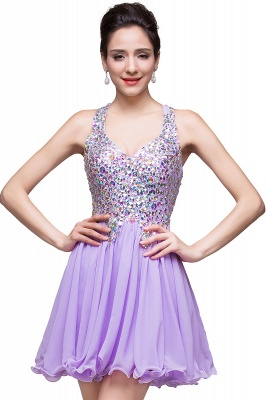 Elegant V-neck Sleeveless Chiffon Short Homecoming Dress UK With Beadings Crystals_14
