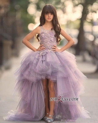 Appliques Sleeveless Hi-Lo Glamorous Tulle Scoop Pageant Dress_3