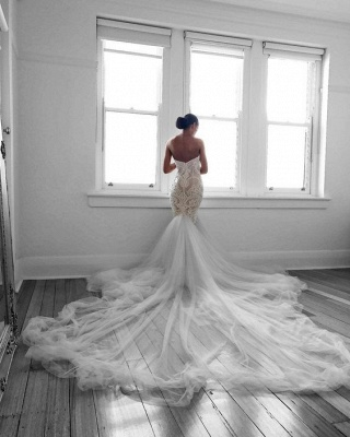 Romantic Sweetheart Lace White Sheer Wedding Dress |  Sexy Mermaid Bridal Gown_3