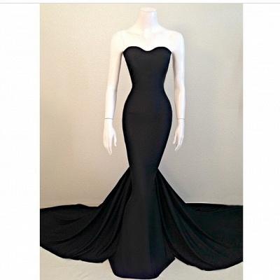 Elegant Mermaid Black Sweetheart Evening Dress UK Sleeveless Sweep Train_2