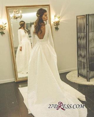 Newest Long-Sleeve A-line Sweep-Train Jewel Wedding Dress_2