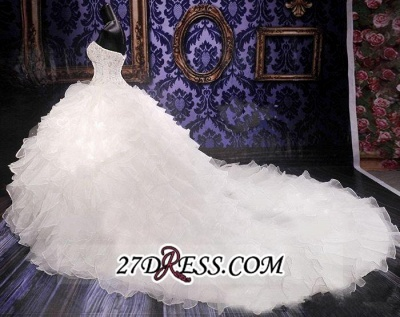 Ball-Gown White Long-Train Beads Lace-up Sweetheart Ruffles Gorgeous Wedding Dress_4