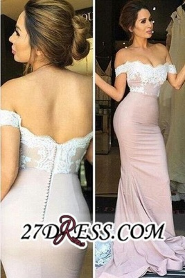 Blush Pink Off-the-Shoulder Lace Appliques Mermaid Prom Dress UKes UK_3