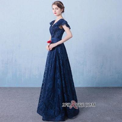 Sexy A-line V-Neck Dark-Navy Lace Beading Prom Dress UKes UK_3