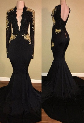 Elegant black prom Dress UK,mermaid long sleeve evening Dress UK BA7942_1