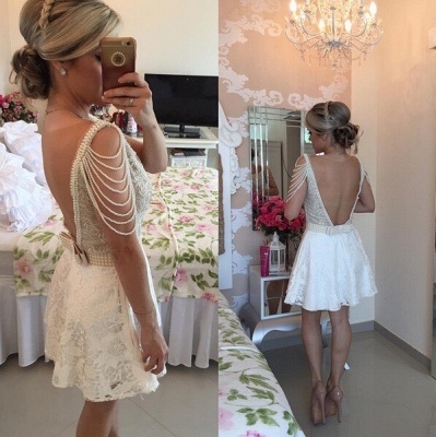 Gorgeous Short Lace Pearls Cocktail Dress UK V-neck Open Back BT0_2