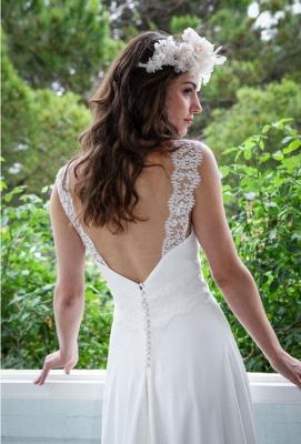 Elegant White Lace Straps Wedding Dress Zipper Button Back_4
