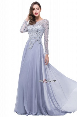 Appliques Long-Sleeves Newest Beadings A-Line Prom Dress UK_5