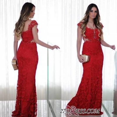 Long Cap-Sleeves Lace Mermaid Floor-Length Red Prom Dress UK_1